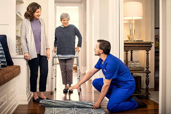 Home care provider improving patient safety by helping prevent fall risks.