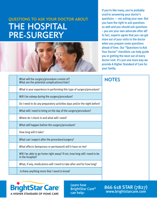Click here to download the Questions to Ask Before Surgery PDF.
