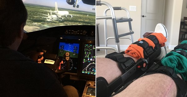 Corporate pilot Michael Wilkie in the cockpit; recovering from double knee replacement surgery