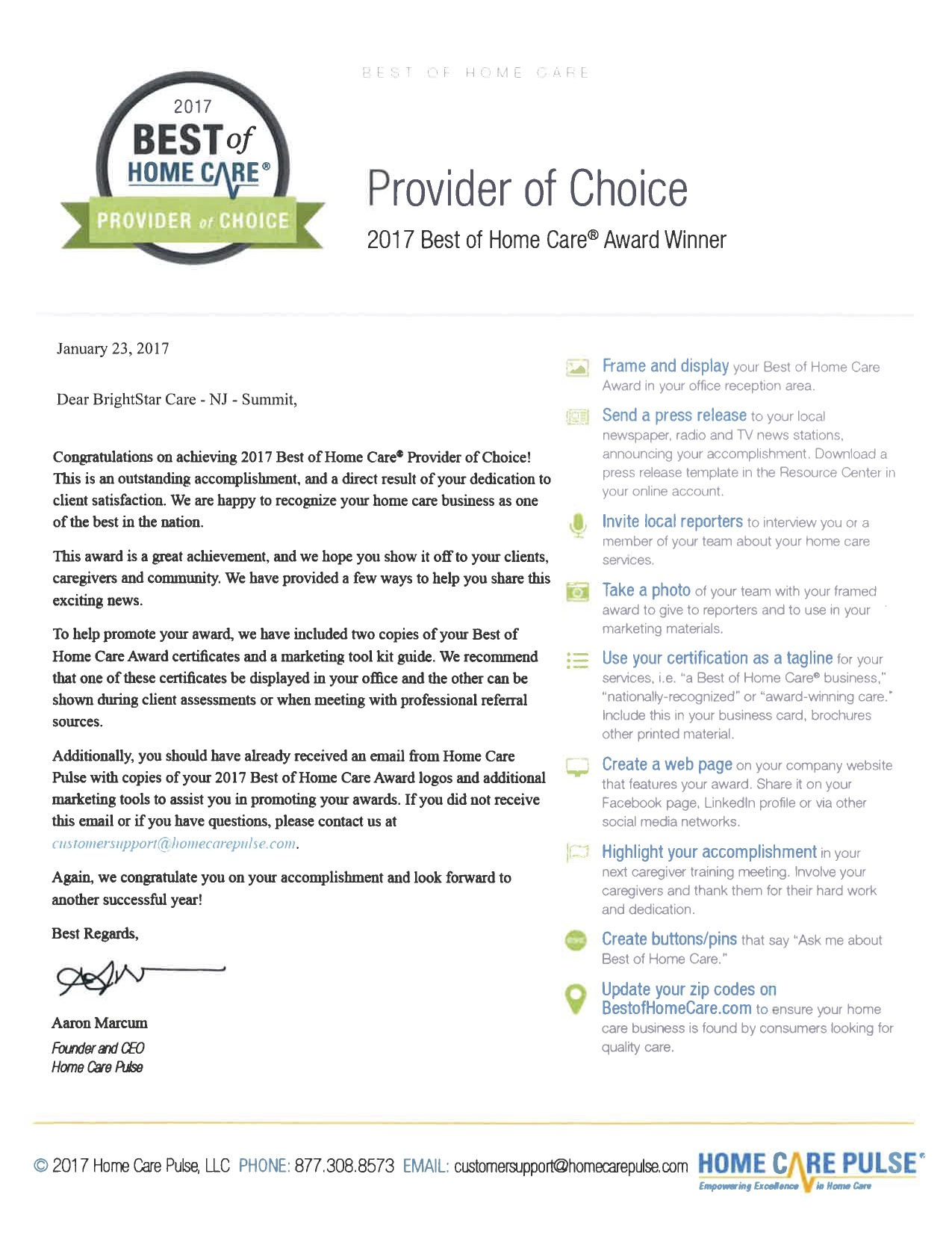 Provider of Choice Letter