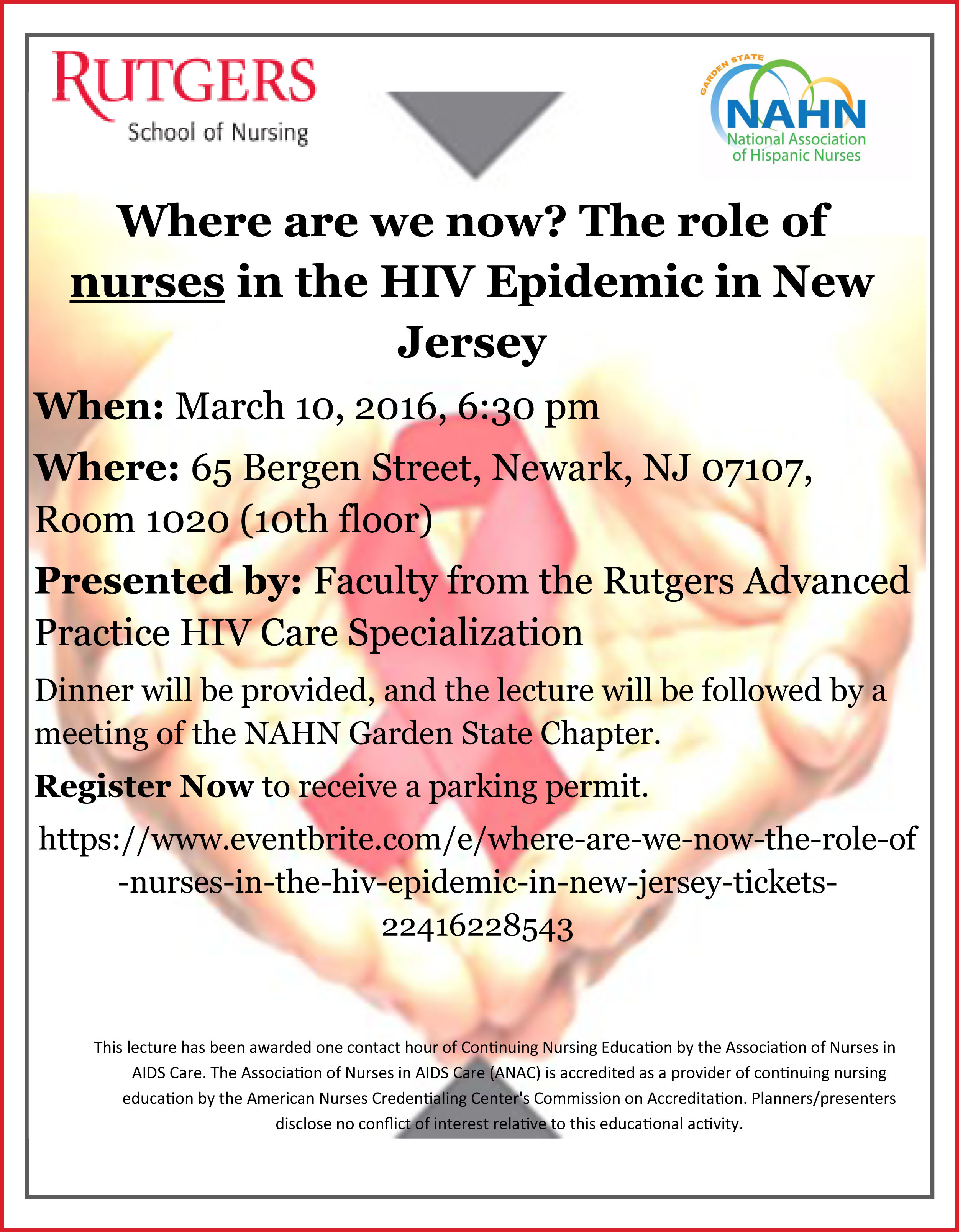 March 10 NAHN Gardent State and Rutgers event